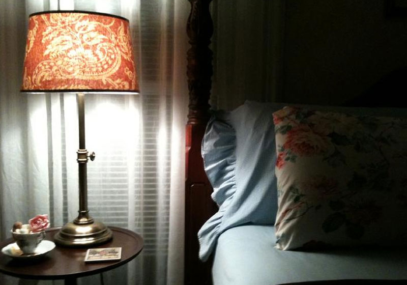 Lamp and Bedroom | Captain David Kelley House, Centerville, MA