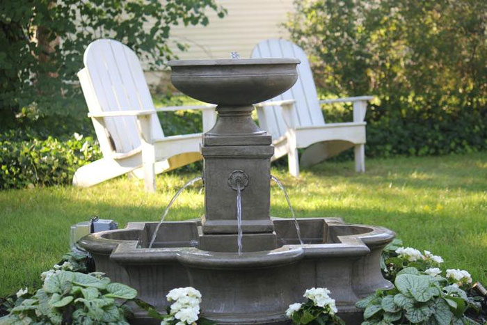Garden Fountain | Captain David Kelley House Bed & Breakfast, Cape Cod