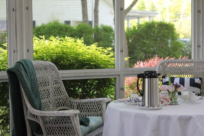 Coffee and Porch | Captain David Kelley House in Cape Cod Massachusetts